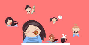 cartoon girl eat, exercise, lose weight